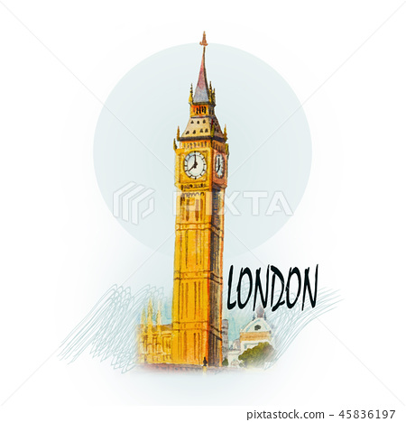 Big Ben Clock Tower in London at England. 45836197