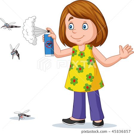 Cartoon girl spraying a mosquito 45836857