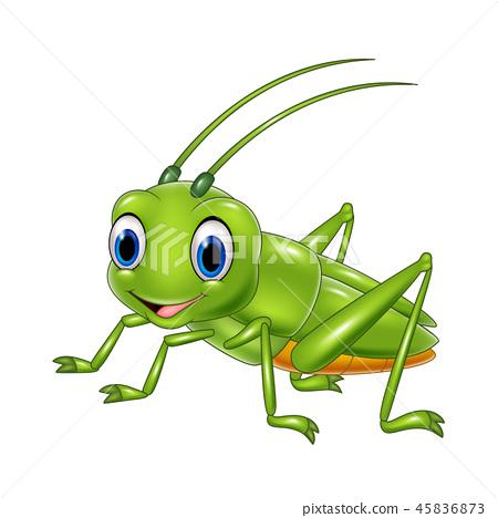Cartoon happy grasshopper 45836873