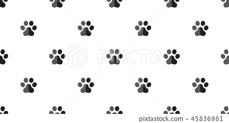 dog paw seamless pattern french bulldog vector  45836981