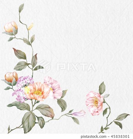 優雅的玫瑰花花卉和樹枝 45838301
