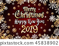 vector gold Merry Christmas Happy new year 2019 45838902