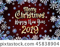 vector gold Merry Christmas Happy new year 2019 45838904
