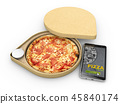 3d illustration of Pizza in a cardboard box against a white background, Pizza delivery. 45840174