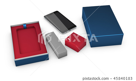 Opened box package with mobile phone isolated on white background, 3d Illustration 45840183