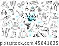 Set of winter doodles 45841835