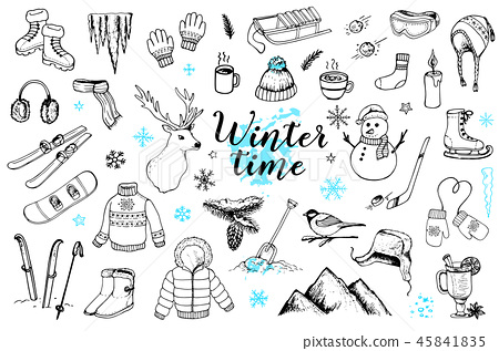 Set of winter doodles 45841835