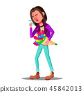 Allergic, Sneezing Girl With A Flowers Vector. Isolated Cartoon Illustration 45842013