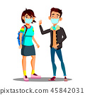 Asian Teen Girl, Boy Wearing A Face Mask In The City Coughing Vector. Isolated Cartoon Illustration 45842031