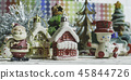 Santa Claus, snowman, houses, snow Sledge miniatur 45844726