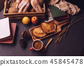 Breakfast scene with coffee cup, bread and fruits 45845478