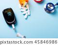 White pills on blue background 45846986