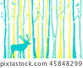 Birch tree forest with reindeer, vector 45848299