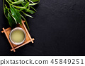 Top view of green tea matcha in a bowl on wooden  45849251
