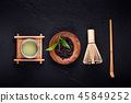 Top view of green tea matcha in a bowl on wooden 45849252
