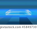 3D floor with transparent box on grid surfaces  45849730