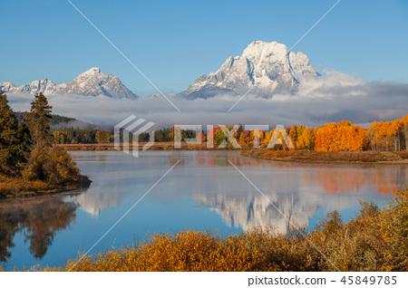 Teton Scenic Autumn Reflection 45849785
