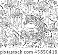 Vector  seamless pattern, unicorn  and stars. 45850419