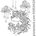 Vector  unicorn cartoon, black silhouette. 45850420