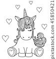 Vector cute unicorn cartoon, black silhouette. 45850421