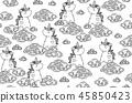 Vector cute seamless pattern,  unicorns in clouds. 45850423