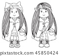 Vector cute girls cartoons,  black silhouettes. 45850424