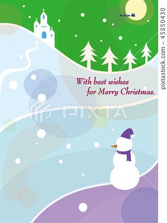Christmas snowman and church <purple> 45850430