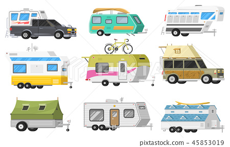 A set of trailers or family RV camping caravan     - Stock