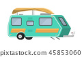 Trailers or family RV camping caravan. Tourist bus and tent for outdoor recreation and travel 45853060