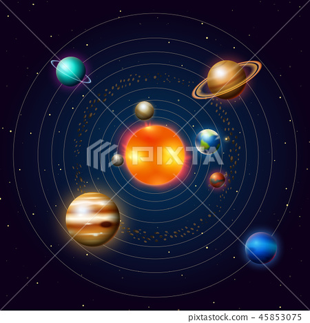 Planets of the solar system or model in orbit. Milky Way. Space and astronomy, the infinite universe 45853075
