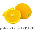 Oranges are full and cut in half. 45854791