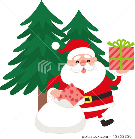 0a75344d856cc Santa Claus takes out the present from the bag. Vector material ...