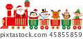 在玩具火車的逗人喜愛的聖誕節字符。矢量素材 45855859