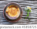 Latte Coffee and Daisy Flower Wood Table Flatlay 45858725