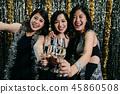Cheerful girlfriends toasting wine glasses 45860508