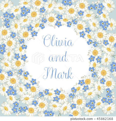 chamomile and forget me-not-flowers pattern on blue background 45862168