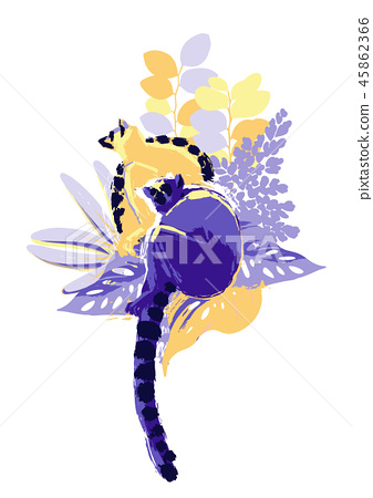 Abstract vector design with two lemurs sitting among the exotic plants 45862366