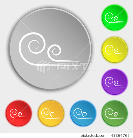 wind icon sign. Symbol on eight flat buttons. Vect 45864765