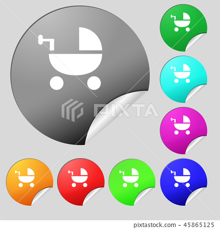 Baby Stroller icon sign. Set of eight multi colore 45865125