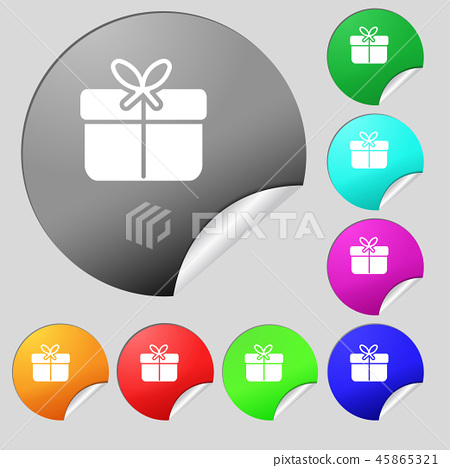 Gift box icon sign. Set of eight multi colored rou 45865321