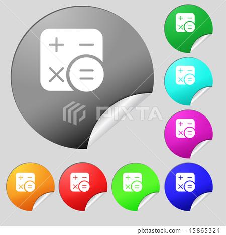 Calculator icon sign. Set of eight multi colored r 45865324
