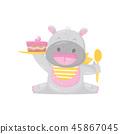 cake, vector, hippopotamus 45867045