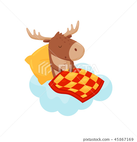 Cute baby deer sleeping on a cloud under blanket, lovely animal cartoon character, good night design 45867169