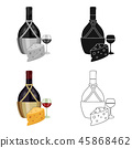 A bottle of alcohol, wine in a glass and cheese. Alcohol single icon in cartoon style vector symbol 45868462