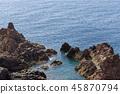 Rock formation in the blue water of Atlantic ocean 45870794