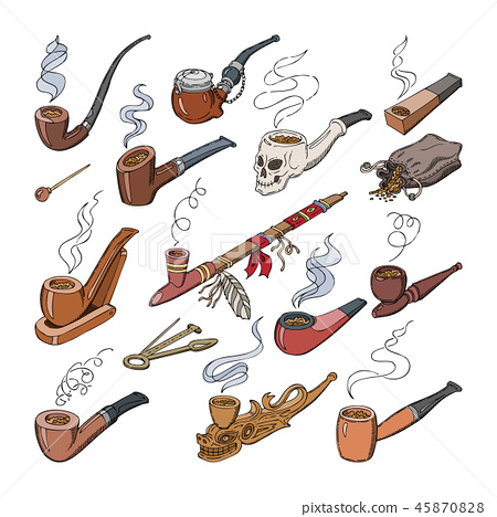 Tobacco pipe vector vintage nicotine smoker object classic retro smoking-pipe product illustration 45870828