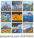 Pollution environment vector polluted air smog or toxic smoke of industrial city illustration 45870845