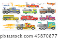Jet truck vector afterburning race car and flamy drag racing on speedcar on sport event racetrack 45870877