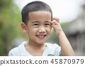 close up headshot of asian children 45870979