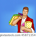 fat man with shopping bags in pop art style 45871354